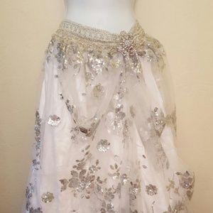 Custom Order Silver White Sequin Tulle Maxi Skirt